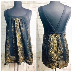 Ecote Urban Outfitters Black Gold Flowy Tunic Top